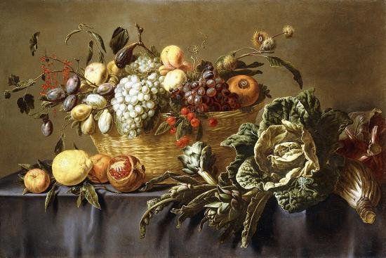 A Basket of Fruit on a Draped Table. About 1635-Adriaen van Utrecht-Giclee Print
