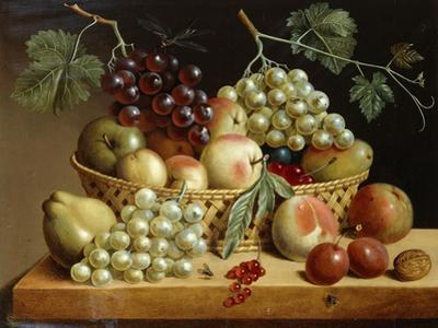 A Basket of Grapes, Apples, Peaches and other Fruit on a Ledge