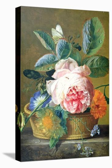 A Basket with Flowers, 1740-45-Jan van Huysum-Stretched Canvas Print