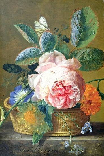 A Basket with Flowers, 1740-45-Jan van Huysum-Giclee Print