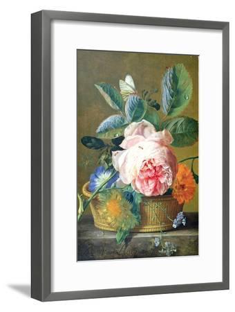 A Basket with Flowers, 1740-45-Jan van Huysum-Framed Giclee Print