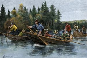A Bateau (Boat) Race in the North Woods, 1800s