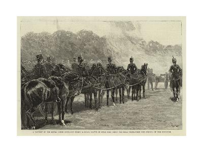 A Battery of the Royal Horse Artillery Firing a Royal Salute in Hyde Park When the Bells Proclaimed--Giclee Print