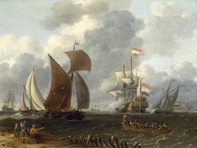 A Battle Offshore, 17th Century-Abraham Storck-Giclee Print