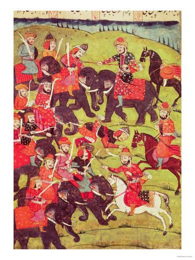 "A Battle Scene, from the ""Shahnama"" (Book of Kings) by Abu""L-Qasim Manur Firdawsi (c. 934-c. 1020)--Giclee Print"