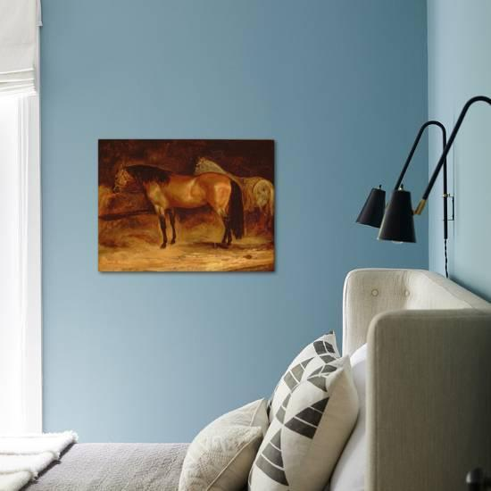 Grey Horse in a Rug Giclee Print