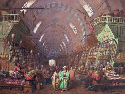 A Bazaar in Constantinople, 1873-Jean Brindesi-Giclee Print