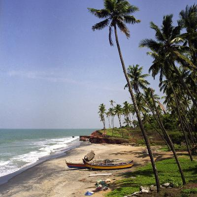 A Beach in Kerala, India, with Two Small Fishing Boats-PaulCowan-Photographic Print