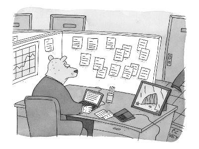 A bear dressed as an office worker sits in a cubicle staring at a photogra? - New Yorker Cartoon-Peter C. Vey-Premium Giclee Print