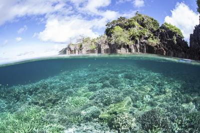 A Beautiful Coral Reef Grows Near a Set of Limestone Islands in Indonesia-Stocktrek Images-Photographic Print
