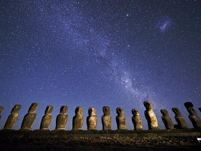 A Beautiful Night Sky Above Moai on Easter Island-Jim Richardson-Photographic Print