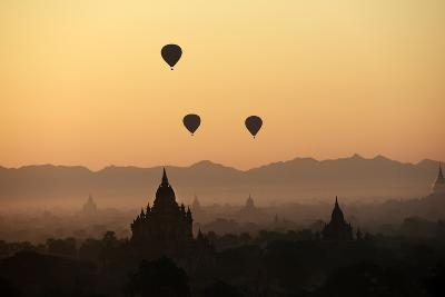 A Beautiful Sunrise over the Buddhist Temples in Bagan-Boaz Rottem-Photographic Print