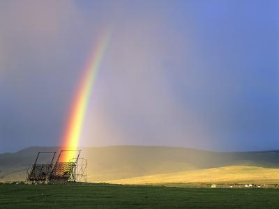 A Beaverslide Haystacker with Full Rainbow in the Big Hole Valley, Jackson, Montana, USA-Chuck Haney-Photographic Print