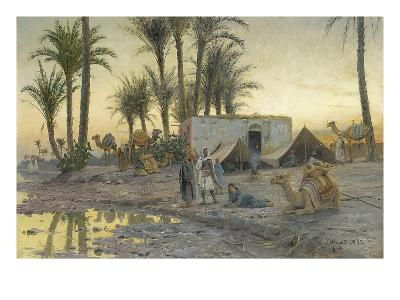 A Bedouin Camp at Gerzereh after Sunset, 1893-Peder Moensted-Giclee Print