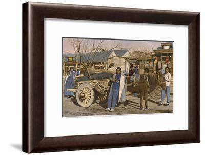A Beijing Vendor Leans Against His Horse and Wagon--Framed Photographic Print