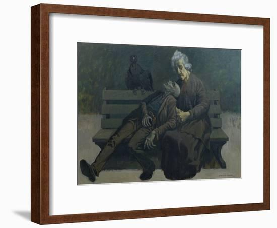 A Bench in Paris, 1960-Osmund Caine-Framed Giclee Print