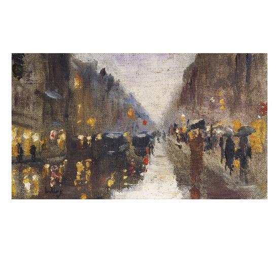 A Berlin Street in the Rain with Traffic; Berliner Strasse Beim Regen Mit Kutschen-Lesser Ury-Giclee Print