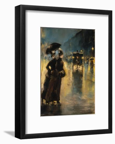 A Berlin Street Scene by Night with Coaches-Lesser Ury-Framed Premium Giclee Print
