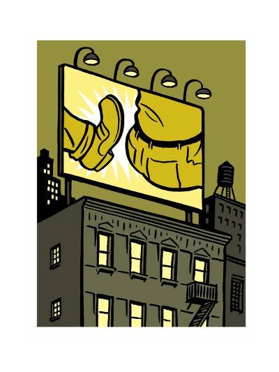 A billboard depicts a butt kick - New Yorker Cartoon-Christoph Niemann-Premium Giclee Print