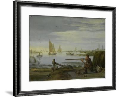 A Bird Hunter on a Riverbank, Arent Arentsz-Arent Arentsz-Framed Art Print