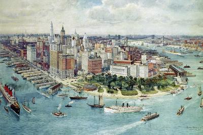 A Bird's Eye View of Lower Manhattan, 1911-Richard Rummell-Giclee Print