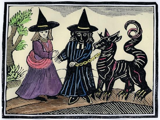 A black and a white witch with a devil animal-Unknown-Giclee Print