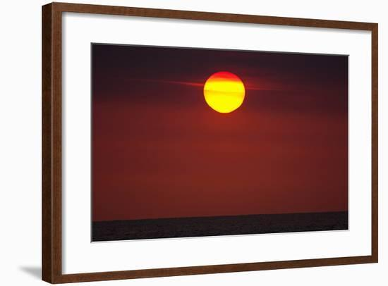 A Blazing Sunset over the Atlantic Ocean-Luis Lamar-Framed Photographic Print