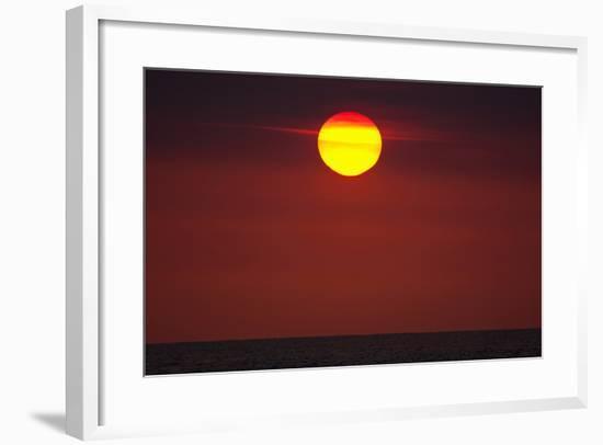 A Blazing Sunset over the Atlantic Ocean-Luis Lamar-Framed Photographic Print
