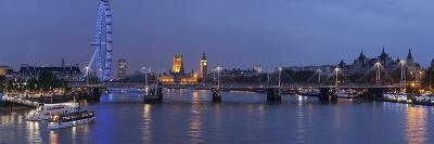 A Blended Composite Panoramic of London on the Thames River at Dusk-Stephen Alvarez-Photographic Print