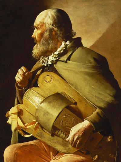 A Blind Hurdy-Gurdy Player, Seated Three-Quarter Length, in Profile to the Left-Georges de La Tour-Giclee Print