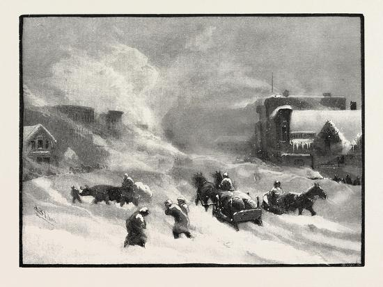 A Blizzard in Winnipeg, Canada, Nineteenth Century--Giclee Print