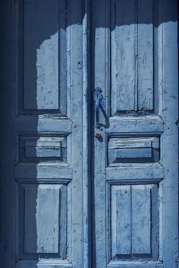 A Blue Door on Santorini Island-Babak Tafreshi-Photographic Print