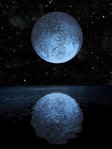 A Blue Moon Rising over a Calm Alien Ocean with a Starry Sky as a Backdrop