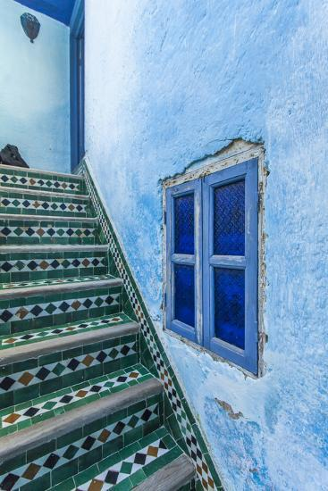 A Blue Wall and a Tiled Staircase in the Garden of Le Jardin Des Biehn-Richard Nowitz-Photographic Print