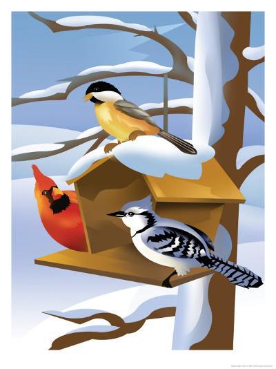 A Bluebird, Cardinal, and Finch Sitting by a Birdfeeder--Art Print