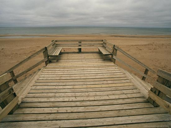A Boardwalk and Stairways Leading to Cavendish Beach-Michael S^ Lewis-Photographic Print