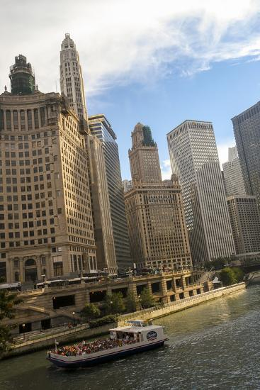 A Boat and Buildings Along the Chicago River, Chicago, Illinois, USA-Susan Pease-Photographic Print