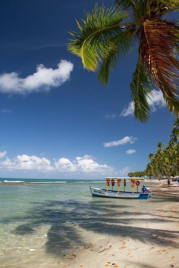 A Boat Floats Along the Sandy Praia Do Carneiros Near Tamamdere, North-Eastern Brazil-Alex Saberi-Photographic Print