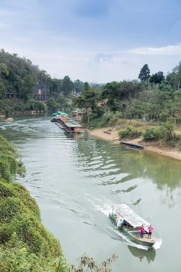 A Boat on the River Kwai with the Pow-Built Wampoo Viaduct Behind-Alex Robinson-Photographic Print
