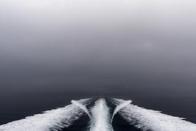 A Boat Wake Peels Out across the Still Waters of an Arctic Fjord-Jason Edwards-Photographic Print