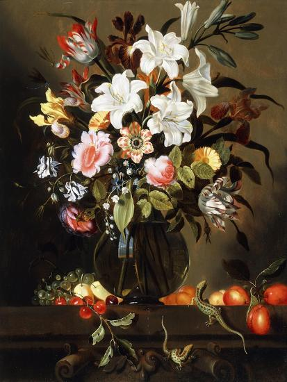 A Bouquet of Flowers with Fruit and Two Sand Lizards on a Stone Ledge, 1647-Jacob Marrel-Giclee Print