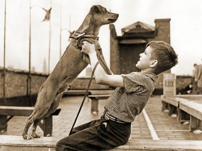 """A Boy and His Dog Brownie, Winner of """"The Biggest Tramp""""Competition, New York 1938--Photographic Print"""