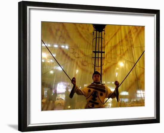 A Boy Dressed as Butterfly--Framed Photographic Print