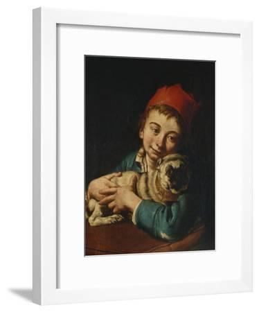 A Boy, Half Length, in a Blue Jacket and a Red Hat, Holding a Pug on a Cushion-Giacomo Ceruti-Framed Giclee Print