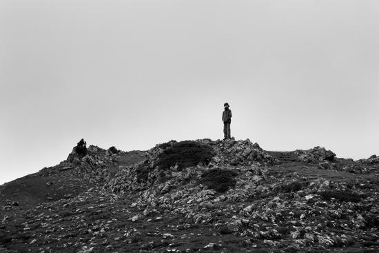 A Boy Looks Into Spain Near Pierre St Martin, France-Stephen Alvarez-Photographic Print