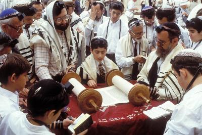 A Boy Reading the Torah During His Bar Mitzvah--Photographic Print