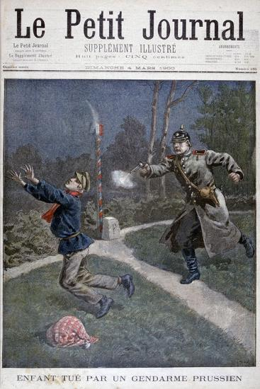 A Boy Shot by a Prussian Gendarme Escaping from a Correctional Facility, 1900--Giclee Print