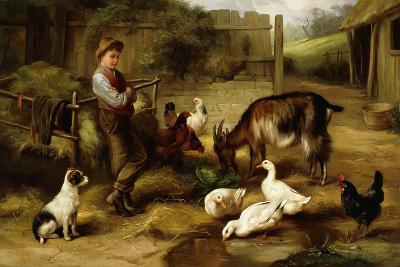 A Boy with Poultry and a Goat in a Farmyard, 1903-Charles Hunt-Giclee Print