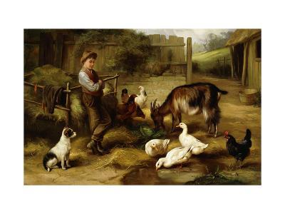 A Boy with Poultry and a Goat in a Farmyard-Charles Hunt-Giclee Print