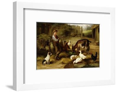 A Boy with Poultry and a Goat in a Farmyard-Charles Hunt-Framed Giclee Print